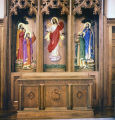 High relief sculptures behind the altar at First Methodist Church on West Cloverdale Park in...