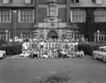 Participants in the Methodist Youth Assembly gathered in front of Flowers Hall at Huntingdon...