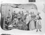 Nathan Glick mural depicting American servicemen in a restaurant, possibly in Eastern Europe or...