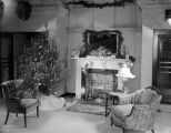 Interior of the First National Bank in Montgomery, Alabama, decorated for Christmas.