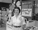 "Woman promoting Alabama Gas Corporation's ""Old Stove Roundup"" campaign, which encouraged..."
