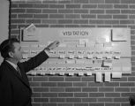 S. Louis Armstrong standing beside a visitation board at Morningview Baptist Church in Montgomery,...
