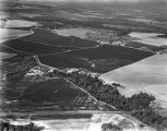 Aerial view of farmlands, probably in Autauga County, Alabama.