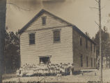 Students in front of a school building in District 5 of Colbert County, Alabama.