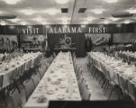 Tables set for a luncheon or banquet, probably sponsored by the Alabama Bureau of Tourism and...