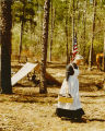 Woman participating in a historical reenactment at Blakeley Historic State Park in Baldwin County,...