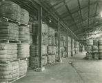 Bales of imported Australian wool in a warehouse at the Alabama State Docks in Mobile, Alabama.