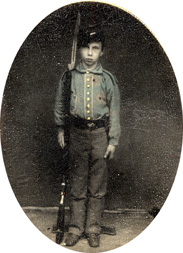 Edward Harris III, in homemade uniform.