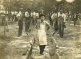 Man standing at the end of a barbecue pit in Pine Hill, Alabama.