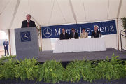 Governor Jim Folsom, Jr., speaking at the groundbreaking ceremony for the Mercedes-Benz plant in...