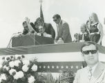 Governor George Wallace speaking to a crowd upon his return to Alabama following the assassination...