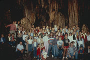 Large group of people inside DeSoto Caverns in Childersburg, Alabama.