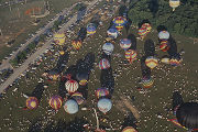 Aerial view of hot-air balloons at the Alabama Jubilee, an annual festival held Memorial Day...