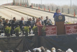 Coretta Scott King speaking in front of the Edmund Pettus Bridge in Selma, Alabama, during the...