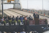 Bill Clinton speaking in front of the Edmund Pettus Bridge in Selma, Alabama, during the Bridge...