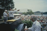 Band performing on stage during the W. C. Handy Music Festival in Florence, Alabama.