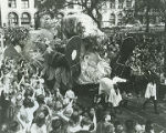 Float in a Mardi Gras parade in downtown Mobile, Alabama.