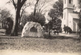 This boulder in Wetumpka, Alabama, marks the spot from which troops departed for the front during...