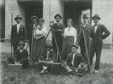 Students with surveying equipment at Talladega College in Talladega, Alabama.