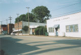 Commercial buildings and library on the east side of North Main Street in the historic area of...