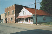 Commercial buildings on the east side of North Main Street in the historic area of Leighton,...
