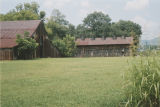 "Barns on the Davis Farm (Caver-Christian House, ""Boiling Spring"") in Oxford, Alabama."