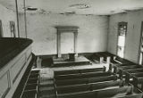 The pulpit area from the gallery of the Ebenezer Presbyterian Church in Clinton, Alabama.