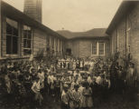 Children in the courtyard of Frances Thomas Elementary School in Selma, Alabama.
