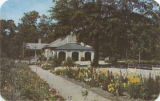 """Gardens and pavilion at Oak Park, one of the beauty spots of the South located in the heart..."