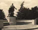 Bronze monument of Booker T. Washington in the center of the Tuskegee Institute campus.