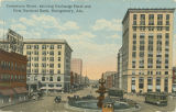 """Commerce Street, showing Exchange Hotel and First National Bank, Montgomery, Ala."""