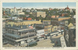 """Bird's Eye View Showing Court House, Church, and School District, Montgomery, Ala."""