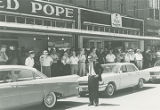Crowd at a rally for George Wallace on West Ladiga Street in downtown Piedmont, Alabama, during...