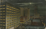 """20th Street Looking South from Farley Building by Night, Birmingham, Ala."""