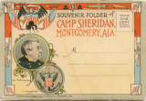 Postcard souvenir packet featuring images from Camp Sheridan in Montgomery, Alabama.