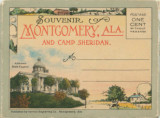 Postcard souvenir packet featuring images of Montgomery, Alabama, and Camp Sheridan.
