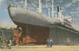 """Ship Being Repaired in  Dry Docks."""