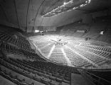 Stage and chairs set up for a performance by Bob Hope at Garrett Coliseum in Montgomery, Alabama.