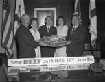 Governor Albert Brewer and members of the Alabama Cattlemen's Association with platters of beef...