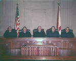 Judges of the Alabama Court of Criminal Appeals in the court chamber of the Judicial Building in...