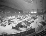 Booths at Garrett Coliseum during the 1955 South Alabama Fair in Montgomery, Alabama.