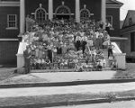 Members of the Burge Memorial Methodist Church on the steps of the building at 1251 Bell Street in...