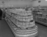 Soup can display at Delchamps grocery store at 222 Madison Avenue in Montgomery, Alabama.