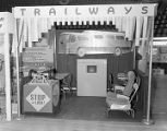 Capital Trailways booth at Garrett Coliseum during the 1955 South Alabama Fair in Montgomery,...