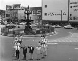 Members of the Community Chest and the Council of Montgomery, Inc., in front of the fountain at...