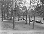 Cars parked around Cloverdale Park in front of First Methodist Church in Montgomery, Alabama.