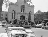 Congregation leaving First Presbyterian Church at 52 Adams Avenue in Montgomery, Alabama.