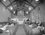 Congregation in the chapel at First Presbyterian Church at 52 Adams Avenue in Montgomery, Alabama.