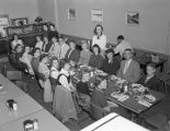 School group from Ramer eating in the lunchroom of the First National Bank of Montgomery in...