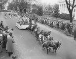 Horse-drawn float in Governor Jim Folsom's inaugural parade in Montgomery, Alabama.